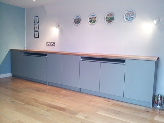 Oak Surface and Cupboards